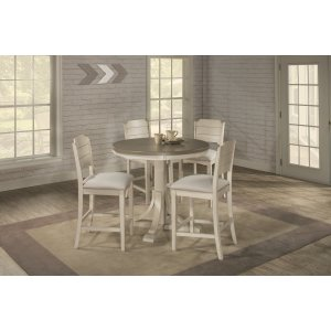 Hillsdale FurnitureClarion 5-piece Round Counter Height Dining Set With Open Back Stools - Distressed Gray Top With Sea