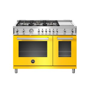 48 inch All-Gas Range 6 Brass Burner and Griddle Giallo - GIALLO