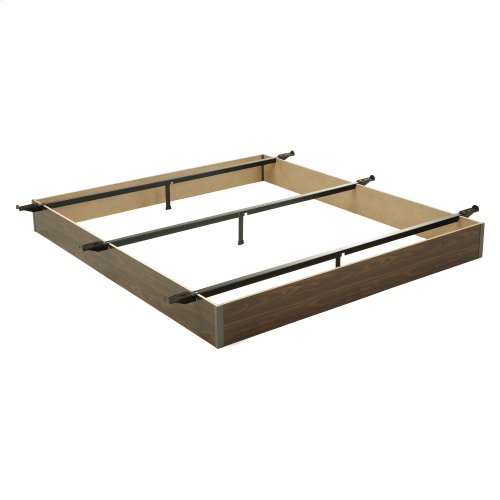 """Pedestal F17 Bed Base with 6"""" Walnut Laminate Wood Frame and Center Cross Slat Support, Full XL"""