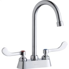 "Elkay 4"" Centerset with Exposed Deck Faucet with 5"" Gooseneck Spout 4"" Wristblade Handles Chrome"