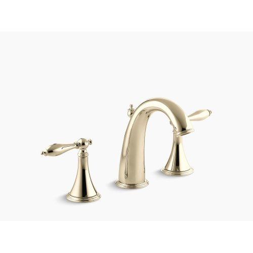 Vibrant French Gold Widespread Bathroom Sink Faucet With Lever Handles