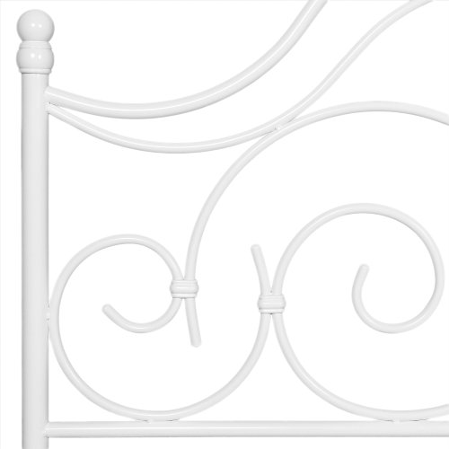Rhapsody Complete Bed with Curved Grill Design and Finial Posts, Glossy White Finish, Full