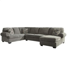 Signature Design by Ashley Jinllingsly 3-Piece Left Side Facing Sofa Sectional in Gray Corduroy