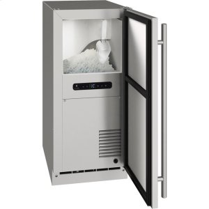 """U-LineOutdoor Collection 15"""" Nugget Ice Machine With Stainless Solid Finish And Field Reversible Door Swing, Pump Included (115 Volts / 60 Hz)"""