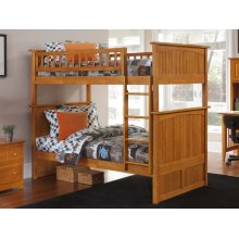 Nantucket Bunk Bed Twin over Twin in Caramel Latte
