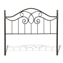 Evanston Metal Headboard Panel with Camelback Arch and Soft Gold Highlighted Castings, Blackened Copper Finish, Queen