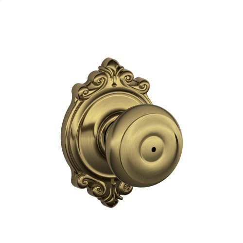 Georgian Knob with Brookshire Trim Bed & Bath Lock - Antique Brass