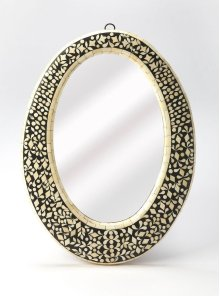 Detailed with intricately crafted bone inlay, this wall mirror's frame reflects artisanal beauty, this whimsical showpiece offers an eye-catching eclectic accent for any room.