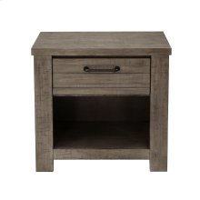 Ruff Hewn 1 Drawer USB Charging Nightstand in Weathered Taupe