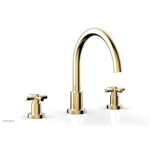 BASIC Deck Tub Set - Tubular Cross Handles D1134C - Satin Brass
