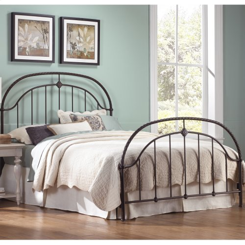 Cascade Bed with Metal Panels and Twisted-Rope Rail, Ancient Gold Finish, Full
