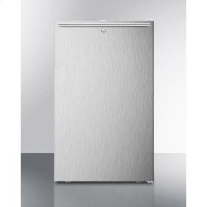 """SummitADA Compliant 20"""" Wide Freestanding Refrigerator-freezer With A Lock, Stainless Steel Door, Horizontal Handle and White Cabinet"""