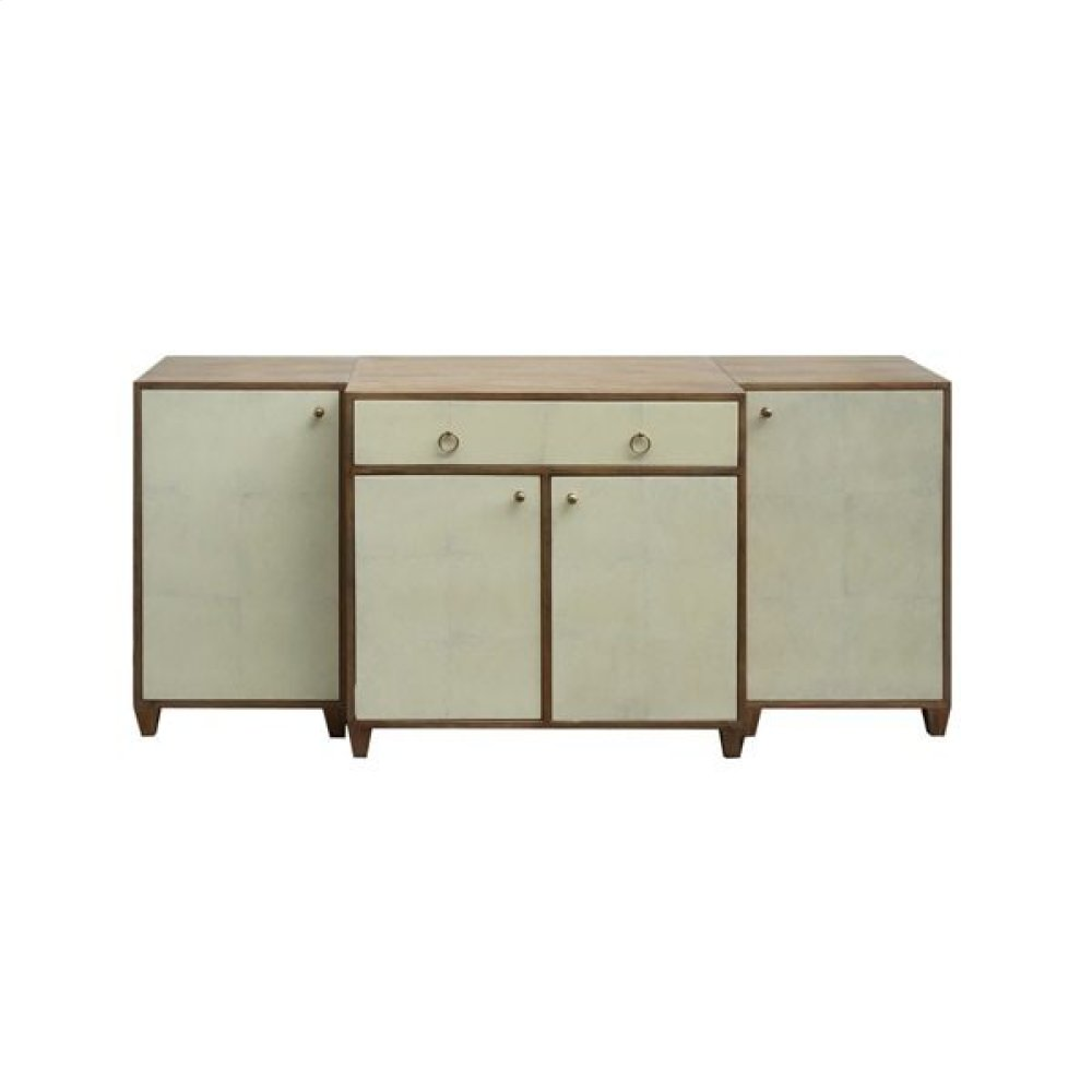 3pc Acacia wood With Distressed Finish cabinet With Door Fronts In Parchment