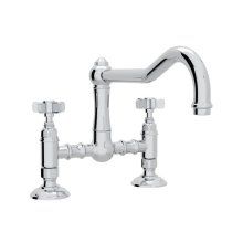 Polished Chrome Italian Kitchen Acqui Deck Mount Column Spout Bridge Kitchen Faucet with Five Spoke Handle