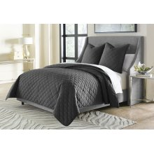 3pc Queen Coverlet Set Charcoal