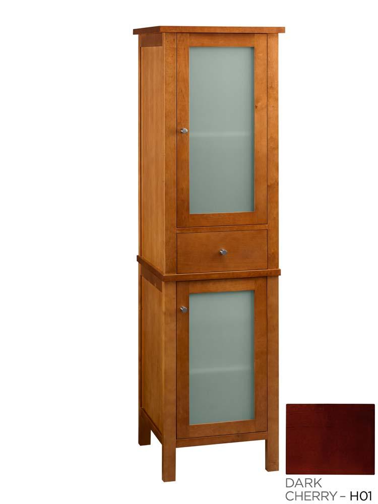 Contemporary Linen Cabinet Storage Tower Dark Cherry