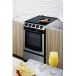 """Summit 20"""" Wide Slide-in Look Smooth-top Electric Range In Stainless Steel With Oven Window; Replaces Rex207ss/rt"""
