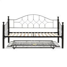 Bianca Complete Metal Daybed with Euro Top Spring Support Frame and Pop-Up Trundle Bed, Hammered Pewter Finish, Twin