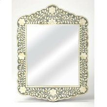 This magnificent wall mirror features sophisticated artistry and consummate craftsmanship. The botanic patterns covering the piece are created from white bone inlays cut and individually applied in a sea of gray hues by the hands of a skillful artisan. No