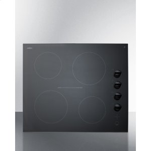 "Summit24"" Wide 4-burner Electric Cooktop In Smooth Black Ceramic Glass Finish"