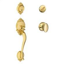 Brookshire Single Cylinder Handleset and Siena Knob - Bright Brass