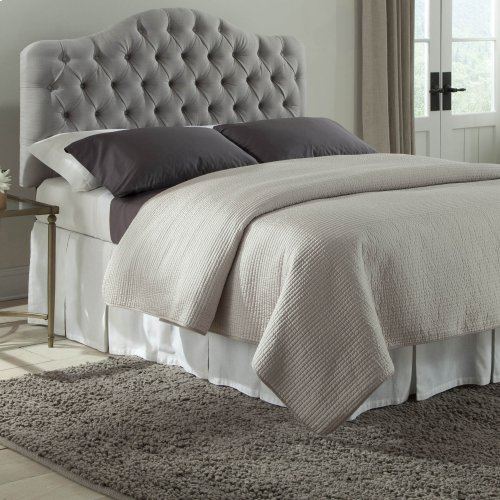 Martinique Button-Tuft Upholstered Headboard with Adjustable Height, Putty Finish, Full / Queen