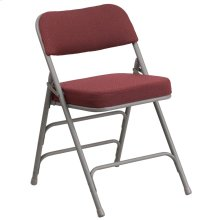 Premium Curved Triple Braced & Double-Hinged Burgundy Fabric Metal Folding Chair