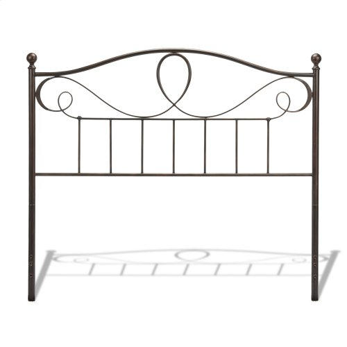 Sylvania Metal Headboard with Curved Grill Design and Finial Posts, French Roast Finish, Full