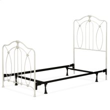 Kaylin Fashion Kids Complete Metal Bed and Steel Support Frame with Graceful Arches and Medallions Accents, Soft White Finish, Twin