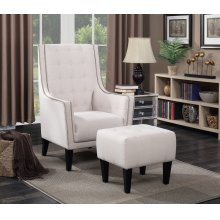 Barton Beige Accent Chair and Ottoman