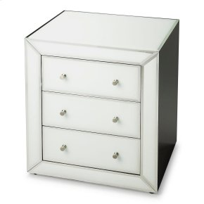 The sleek silhouette of this Chairside Chest will complement virtually any décor. The simple chrome hardware adds yet another classy dimension to this chest of three drawers that is as practical as it is beautiful. Crafted from wood products and two-tone
