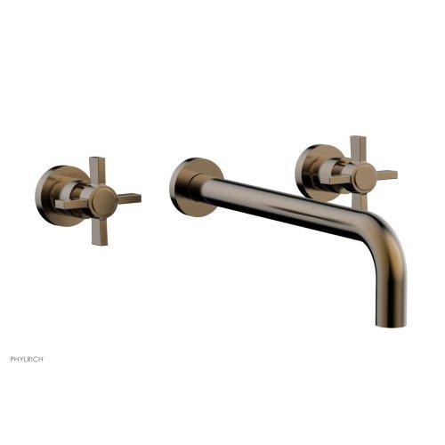 """Basic Wall Tub Set 12"""" Spout - Blade Cross Handles D1137-12 - Antique Brass"""