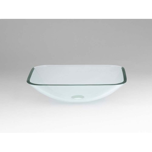 Rectangle Tempered Glass Vessel Bathroom Sink in Clear