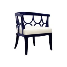 Barrel Back Navy Lacquer Chair With White Linen Cushion - Seat Height 17.5""
