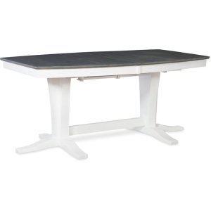 JOHN THOMAS FURNITUREMilano Double Pedestal Extension Table in Heather Gray & White