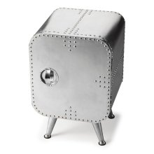Crafted from polished and riveting aluminum, this shapely Chairside Chest provides convenient storage behind the door. It shimmers for sure... a brightest spot that absolutely will not be ignored.