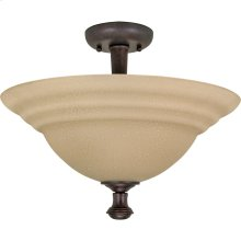 """2-Light 16"""" Semi Flush Mount Dome Lighting Fixture in Old Bronze Finish with Amber Water Glass"""