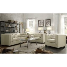 Cairns Transitional Oatmeal Tufted Back Loveseat