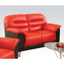Black/red Pu Loveseat