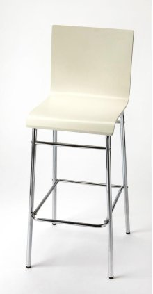 Enhance your kitchen, bar or work space with this modern bentwood barstool. Its high-back rectangular seat is finished in bright white with a chrome plated steel tube base and footrest.
