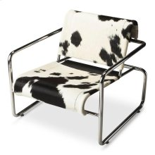 This hip, urban accent chair will give your space the modern flair you seek. Featuring hair-on-hide sling-back upholstery over a stainless steel frame, it is sure to attract attention while offering a comfortable seat in a home or office setting.