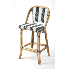 Evoking images of sidewalk tables in the Cote d' Azur; barstools like this will give your kitchen or patio the casual sophistication of a Mediterrnean coastal bistro. Skillfully crafted from thick bent rattan for superb durability; it features weather res