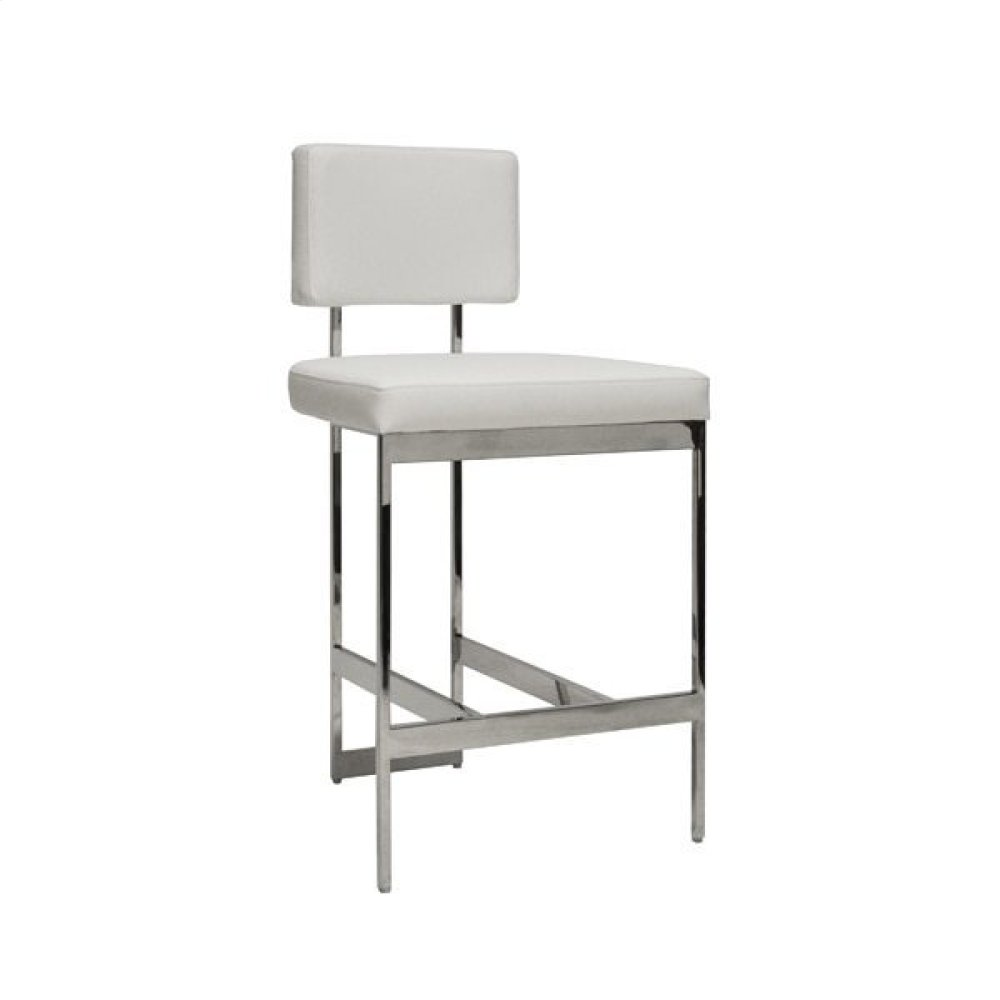 Modern Counter Stool With White Vinyl Cushion In Nickel Seat Height: 26""