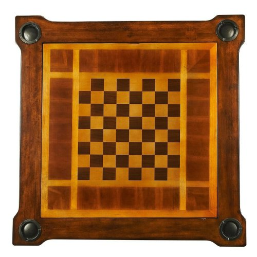 Play a variety of games on this stylish table that is veneered with antique cherry finish. The top inset has a game board for chess and checkers. Flip the inset over and it converts to a green felt-lined blackjack table. Remove the insert altogether and t