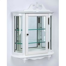 This destinctive wall curio is both functional and beautiful with two adjustable glass shelves and a mirored back to display your prized possessions. The curved glass sides make it very unique. The glass paneled door features antique brass finished hardwa