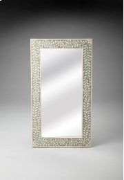 This magnificent Wall Mirror features sophisticated artistry and consummate craftsmanship. The botanic patterns covering the piece are created from white bone inlays cut and individually applied in a gray blend by the hands of a skillful artisan. No two m Product Image