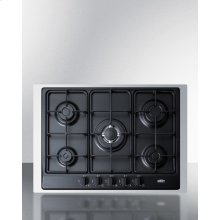 """5-burner Gas Cooktop Made In Italy In Black Matte Finish With Sealed Burners, Cast Iron Grates, Wok Stand, and Stainless Steel Frame To Allow Installation In 30"""" Wide Counter Openings"""