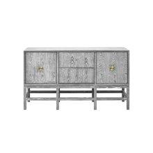 Buffet Cabinet In Grey Cerused Oak With Antique Brass Hardware.