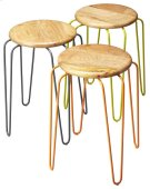 This set of stackable iron stools is both stylish and highly functional. Each stool has a solid mango wood seat with forged iron legs, and features complementary powder-coated color finishes of orange, grey and lime green. Best of all, the stools convenie Product Image