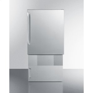SummitOutdoor Icemaker for Built-in Use, In Complete Stainless Steel With Towel Bar Handle and Lower Base Storage Cabinet